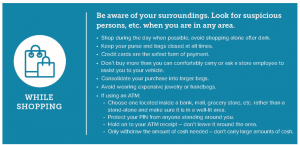 image offers safety tips for shopping from Crime Stoppers