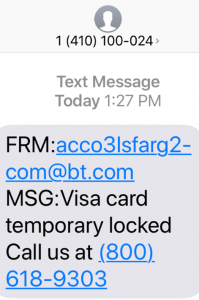 example of a fraud text